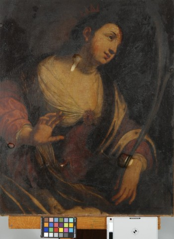 Unidentified Artist after Jacques Blanchard, Saint Catherine of Alexandria, after 1630, oil on canvas.  The painting was covered in layers of dark grime and cigarette smoke and nicotine as well as a heavy layer of discolored varnish.