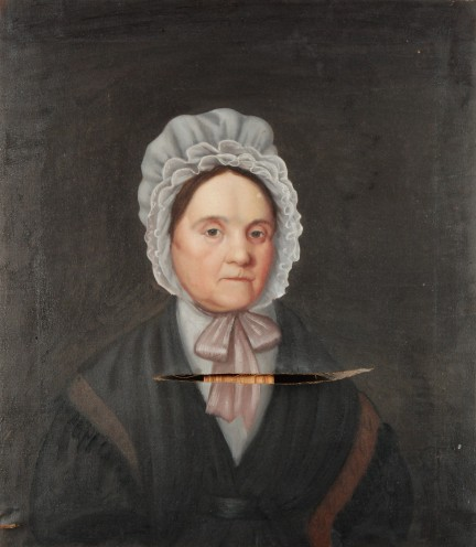 Unidentified Artist, Portrait of Mrs. Willoughby, c. 1830, oil on canvas, with large open tear