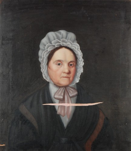 Unidentified Artist, Portrait of Mrs. Willoughby, c. 1830, oil on canvas.  This image shows the painting after a fabric insert was applied and locally mended on the reverse.  The insert was prepared for retouching and was toned red to approximate the original toning layer.