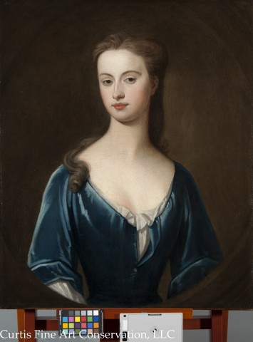 Unidentified Artist, Portrait of an Unidentified Lady in a Blue Dress, ca. late 18th c., oil on canvas