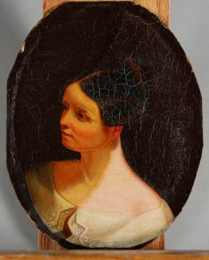 Samuel F. B. Morse, Head Study for The Goldfish Bowl (Mrs. Richard Cary Morse and Family), c. 1835, oil on mill board, Muscarelle Museum of Art, The College of William and Mary