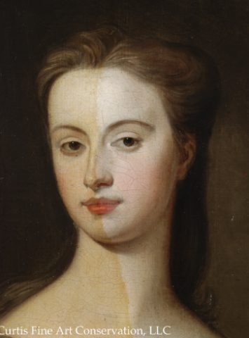Unidentified Artist, Portrait of an Unidentified Lady in a Blue Dress, ca. late 18th c., oil on canvas, detail during cleaning