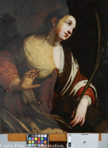 Unidentified Artist, Saint Catherine of Alexandria, after Jacques Blanchard, after 1630, oil on canvas (with heavy, discolored varnish partially removed).