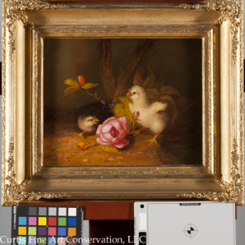 Unidentified Artist, Baby Chicks in a Landscape, ca. late 19th c. In addition to cleaning both the painting and frame, missing ornament was replaced on the frame and toned to match the surrounding gilding.