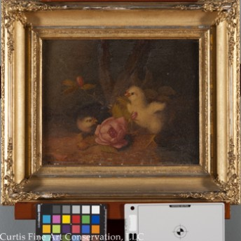 Unidentified Artist, Baby Chicks in a Landscape, ca. late 19th c.  This painting and frame were exposed to smoke and soot from a house fire, in addition to years of grime.  The painting had a heavy, discolored varnish that was also extremely dull and coated in particulate dust.