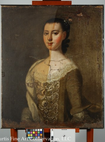 Jeremiah Theus, Portrait of Catherine DuTarque, c. 1774, oil on canvas.  This image shows the painting half cleaned of the discolored wax resin.
