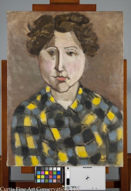 Adolph Gottlieb, Portrait of Gladys Sikora, 1932/4, Private Collection.  In the final image, the losses have been integrated with the neighboring paint through inpainting with pigments ground in a reversible medium.