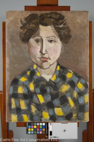Adolph Gottlieb, Portrait of Gladys Sikora, 1932/4, Private Collection.  This painting had suffered a damage decades before its repair in this studio.  The primary goals of treatment were stabilization of lifting paint, local tear repair, grime reduction, and ensuring the support was tensioned onto an appropriate stretcher, as the current, unoriginal stretcher did not fit the painting properly.