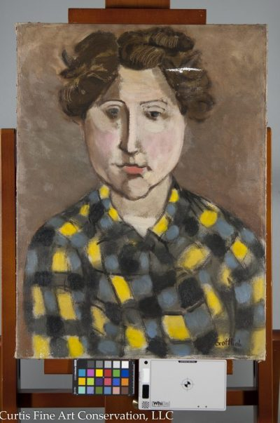 Adolph Gottlieb, Portrait of Gladys Sikora, 1932/4, Private Collection. This image shows the painting after its structural treatment, with the tear having been mended locally, surface grime reduction completed, the losses filled, as well as the reduction of planar distortions overall.
